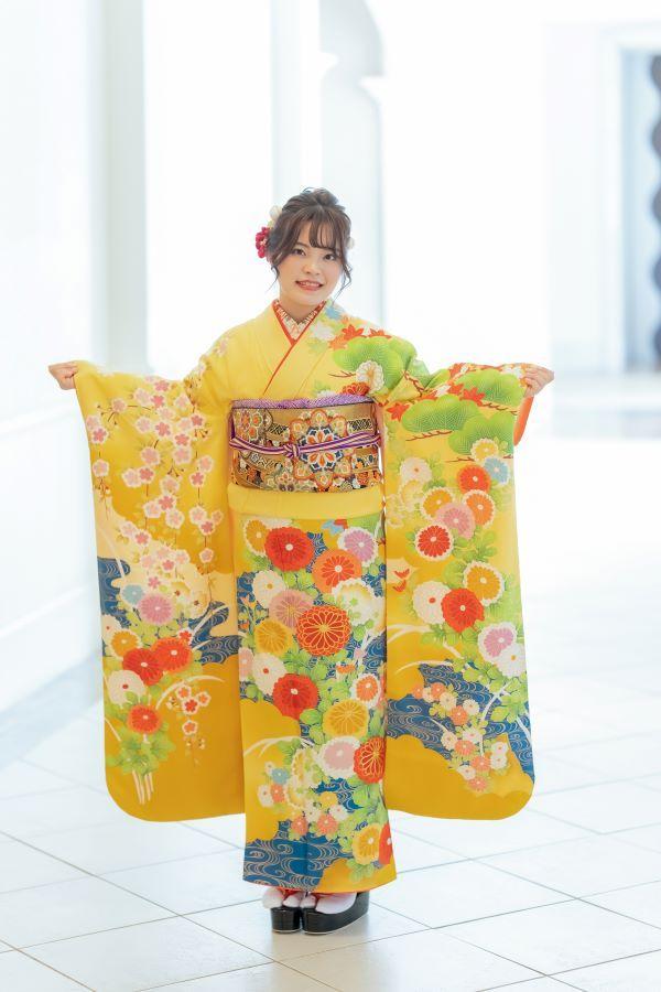 赤の振袖家族写真